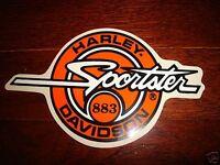 "HARLEY DAVIDSON ORANGE CIRCLE SPORTSTER 883 DECAL STICKER 9"" X 5.25""(OUTSIDE)NEW"