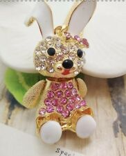 Betsey Johnson Necklace BUNNY RABBIT Pink Pearl Girl CRYSTALS  Gift Box