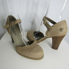 New Timberland Womens 10 M Taupe Beige Earthkeepers Leather Mary Janes Heels