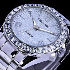 Excellanc Damen Armband Frauen Uhr Silber Farben Metall Glitzer Strass