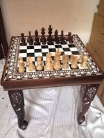 Square Chess Board Table HandCarved Elephant Inlaid Work Rosewood Table Foldable