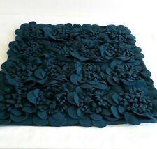 Surya Dark Teal 22-Inch Pillow Cover Structured Floral Wool Felt Zipper