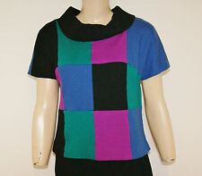 Vintage 50's 60's Mod Op Art Color Block Wool Knit Top Shirt Blouse Size M