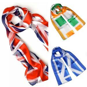 Irish Scottish British Union Jack UK Flag Soft Silky Chiffon Satin Scarf Shawl