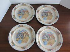 "RARE VINTAGE - 4 - Purrfect Friends Dinner Plates 10.5""  Tienshan CATS KITTENS"
