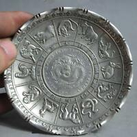 chinese fengshui tibet silver 12 zodiac animal dragon beast statue coin Plate