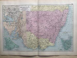 1891 Southeast Australia Hand Coloured Original Antique Map by G.W. Bacon
