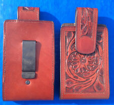 Western Cowboy/Cowgirl Hand Tooled Leather Cell Phone Case