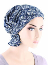 Abbey Cap ® Chemo Hat Cancer Beanie Scarf Blended Knit Medallion Blue