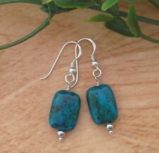 Azurite Chrysocolla Rectangle Stone Vintage 925 Sterling Silver Dangle Earrings