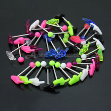 Fashion Mixed Color Hand Barbell Tongue Rings Bars Body Piercing Jewelry 30pcs
