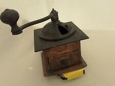 antique wood and iron coffee grinder