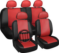 Faux Leather SUV Van Truck Seat Covers Red 17pc w/Steering Wheel/Belt/Head Rests