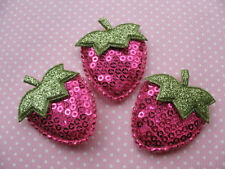 30 Big Padded Sequin Strawberry Appliques/trim-Hot pink