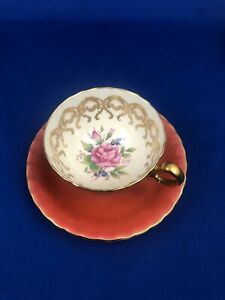 Aynsley Floral Centre Rose Orange Old Style Tea Cup And Saucer Mint Condition
