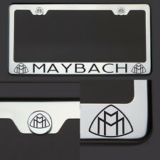 Chrome T304 License Plate Frame Tag Maybach Black Letter Laser Etched Engraved