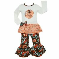 AnnLoren Girls Pumpkin Patch Autumn Floral Thanksgiving Outfit