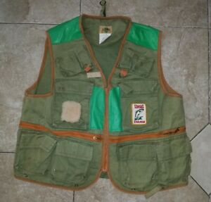 Vtg 50's Ideal Fly Fishing Vest Mens M Steelhead USA