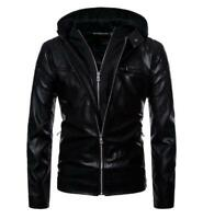 Boutique Punk Men's Hooded Motorcycle Leather Motorcycle Leather Jacket
