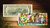 MADONNA WORK Rency / Banksy Pop Art on US $2 Bill Signed by Artist  #/215