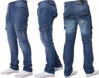Enzo Designer Mens Regular Fit Jeans Straight Leg Denim Trousers Pants All Waist