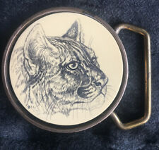 Vintage 1978 BTS Solid Brass Belt Buckle With Faux Scrimshaw Mountain Lion