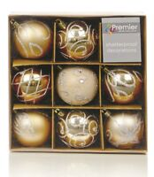 Christmas Tree Decorations Xmas Tree Baubles Glitter Gloss & Matt Champagne Gold