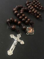 Rosary Wood Brown Crucifix Cross CATHOLIC Rosario Cafe Cruz Necklace Mary Image