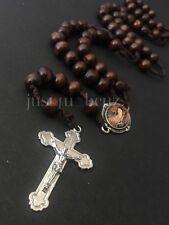 Rosary Wood Brown Crucifix Cross CATHOLIC Rosario Cafe Cruz Necklace Mary Image