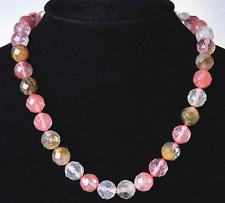 "Pretty 10mm Faceted Watermelon Tourmaline Gemstones Round Beads Necklace 18"""
