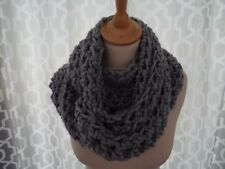 super chunky infinity scarf /snood  hand crafted crochet silver grey  gift