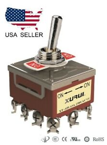 HEAVY DUTY 4PDT ON-ON TOGGLE SWITCH 20A 125V, 15A 250V SCREW TERMINALS (42B)