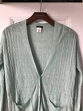 WOMENS J CREW CARDIGAN SIZE XS MINT GREEN BUTTON DOWN FORMAL PREPPY 100% LINEN