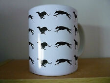 Greyhound Mug shows running greyhounds, Black on White, % to Greyhound Charity