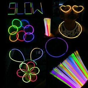 """50/100/8"""" Glow Sticks Bracelets Necklaces Neon Colors Favors Disco Rave Party"""