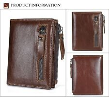 New Genuine Leather Mens Wallet Man Zipper Short Coin Purse Brand Male