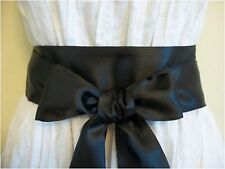 "NEW 2.5""X85"" BLACK SATIN SASH BELT SELF TIE BOW UPDATE PARTY PROM COCKTAIL DRESS"
