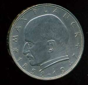 GERMANY FEDERAL COIN 2 MARK 1959 D COPPER - NICKEL KM# 116 XF+ SCARCE
