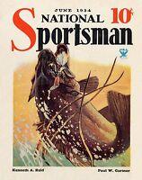 Vintage Magazine Cover Fishing Art Print Largemouth Bass Lures Cabin Decor Gift