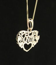 9ct Yellow Gold Special Auntie Heart Shape Pendant - Made in England