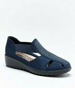 Womens Navy Blue Shoes Wide Fit Size 5 Low Wedge Heeled Lightweight Comfort NEW