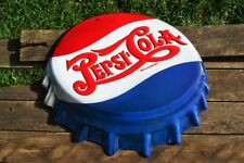 "Pepsi-Cola Bottle Cap Embossed Tin Metal Sign - 18 1/2"" x 16"" - Vintage - Retro"