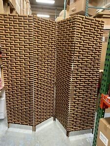 """70"""" 4 Panel Woven Bamboo Room Divider Hinged Privacy Screen (WITH DEFECTS)"""