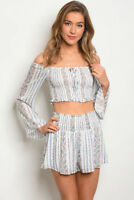 Misses Blue and White Floral Bell Sleeve Crop Top & Shorts Set SZ Medium NWT
