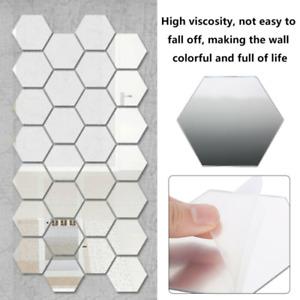 48PCS Acrylic 3D Mirror Effect Tile Wall Sticker Room Decor Stick Art Bathroom