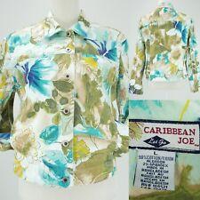 Caribbean Joe Spring Floral Watercolors Cotton Stretch Jean Jacket Womens Large