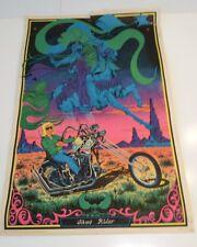 Vtg GHOST RIDER Knight Biker Motorcycle Chopper Flocked Blacklight Poster 1971