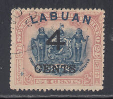 Labuan SG 107 Scott 92 F/VF Postally Used 4c on 24c Lilac & Black Provisional