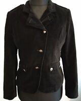 Jensen Black Velvet Jacket Size UK 10 EU 38 military buttons pockets prince Adam