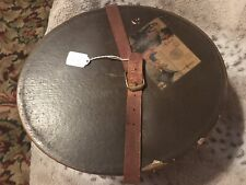 Vintage Mallory Men's Hat Box Brown Oval Heavy Cardboard Real Leather Straps